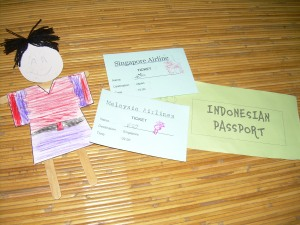 Tickets, Passport and Japanese paper doll