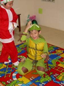 Ninja Turtle and Santa are friends