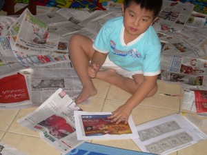 Clipping his favorite articles