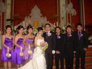 Couple, bridesmaids and groom men